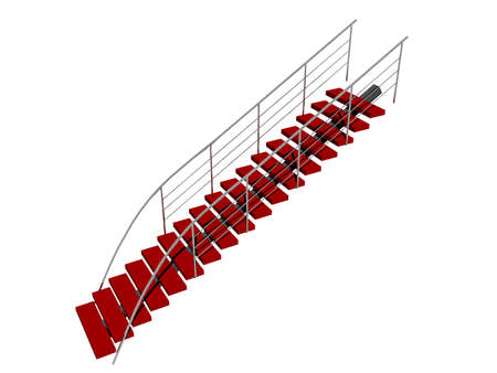 red staircase with metal frame