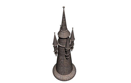 brick fantasy tower with spikes Banque d'images