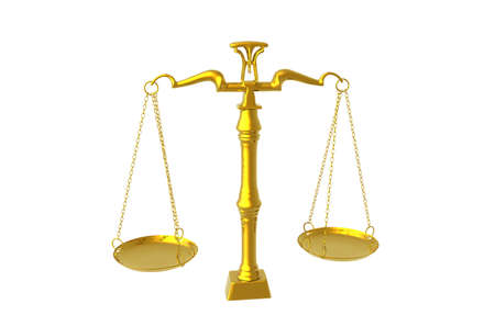 golden scales with bowls of justice
