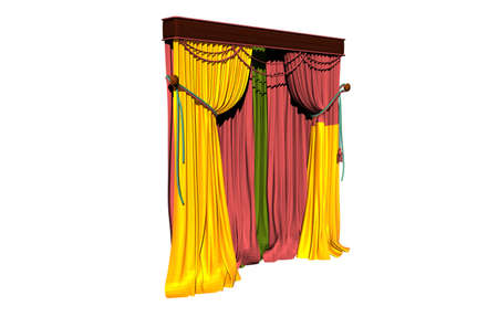 colorful curtains in front of the window