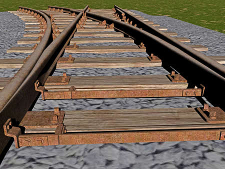 Rails in the track bed with sills and gravel