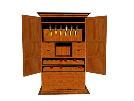 large wooden cupboard as a house bar