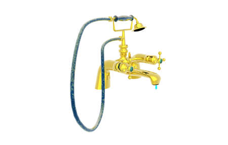 Hand shower with gold faucet on the bathtub