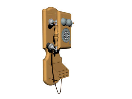 antique wall phone with dial and crank Banque d'images