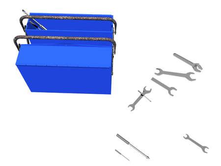 blue metallic tool box Banque d'images