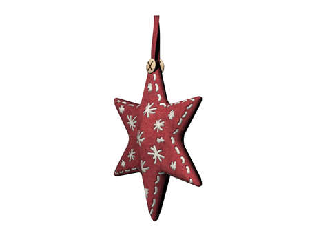 small colorful Christmas pendant sewn from fabric