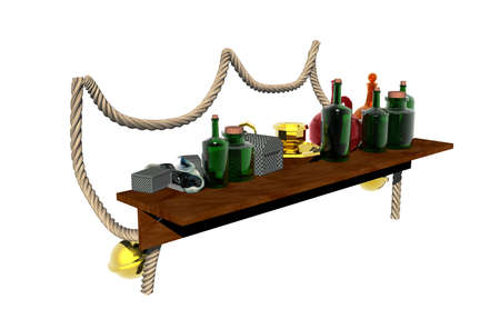 wooden shelf with wine bottles