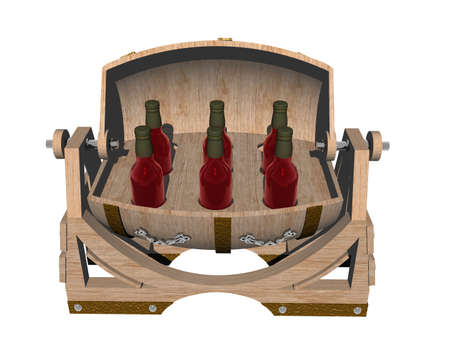 brown wooden barrel as a house bar with wine bottles