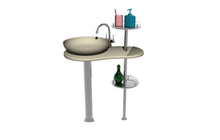 Wash basin with fittings and shelf