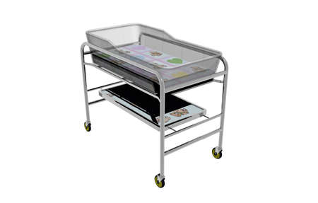 Metal changing trolley with wheels for babies