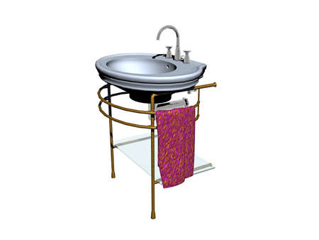 Wash basin with fittings on metal stand Banque d'images