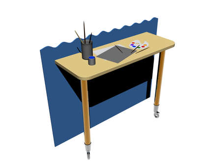 wooden table with rollers on the wall