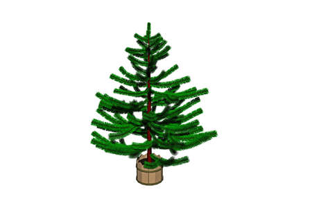 green christmas tree in stand