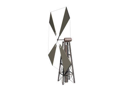 Wind turbine for energy generation on a steel mast Banque d'images