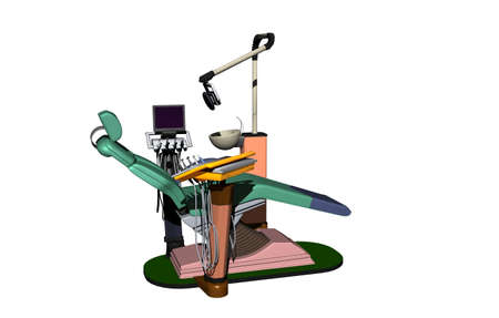 Dentist practice with chair and instruments