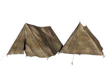 military camp on the meadow 版權商用圖片