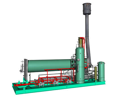 Manufacturing hall with boilers and pipes