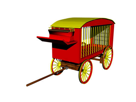 red circus coach with bars for animal transport