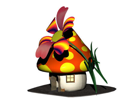 colorful mushroom house for dwarfs with flower