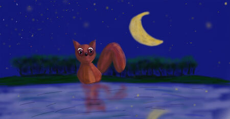 wather: A little squirrel under the moon