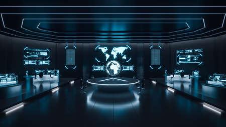 Interior do centro de comando, cybersecurity, sala, azul Foto de archivo - 91586781