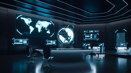Command center interior, cybersecurity, room, blue
