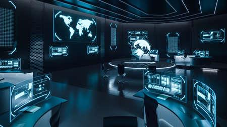 Wnętrze centrum dowodzenia, cyberbezpieczeństwo, pokój, kolor niebieski