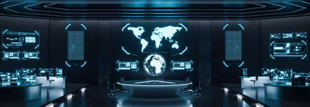 Centro de mando interior, ciberseguridad, sala, azul.