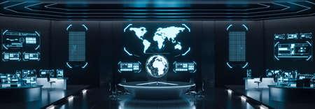 Intérieur du centre de commande, cybersécurité, salle, bleu