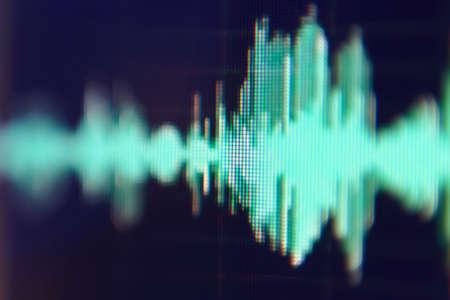 Seismogram. Waveform. Oscilloscope. Musical equalizer. Sound wave. Radio frequence. Abstract closeup