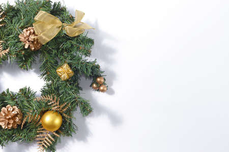 Christmas decorations on white background with copy space. Фото со стока