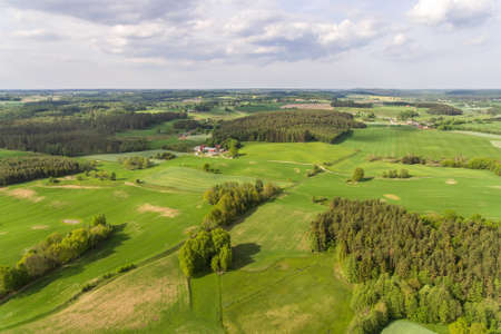 Field drone above top view in Poland
