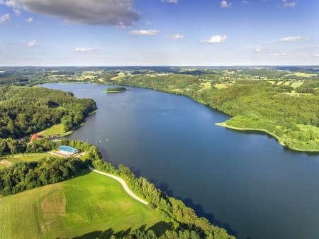 Aerial z lotu ptaka Jezioro Brodno Ostrzyce Brodnica Kaszuby Kashubian Lake located in the area of the Kashubian Landscape Park Kaszubski Park Krajobrazowy dron drone text copy