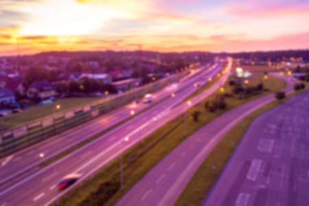Aerial View of Highway Blurred for background Banco de Imagens