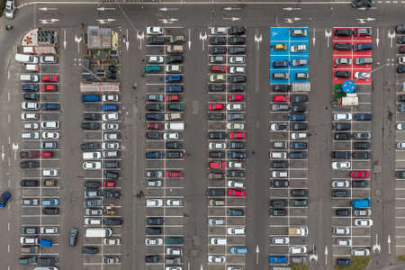 10.09.2019 Gdynia, Poland Drone Aerial View Parking Lot