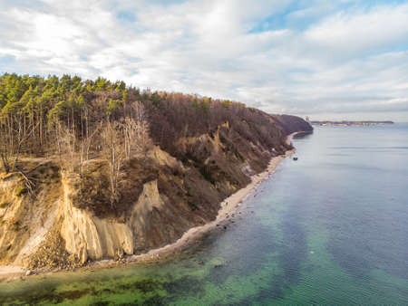 Orlowo Cliff in Gdynia, Poland, Baltic Sea coastline. Aerial View. 스톡 콘텐츠