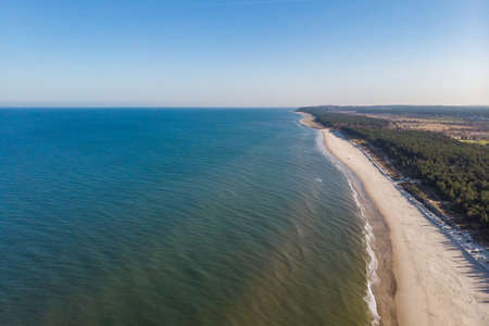 Aerial view of the beach and Baltic sea in Wladyslawowo, Poland 스톡 콘텐츠