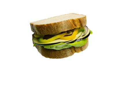 sandwitch: Sandwitch made with lettuce, eggplant, yellow peppers and onion isolated on white background Stock Photo