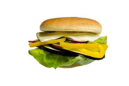 Sandwitch made with lettuce, eggplant, yellow peppers cheese and onion isolated on white background