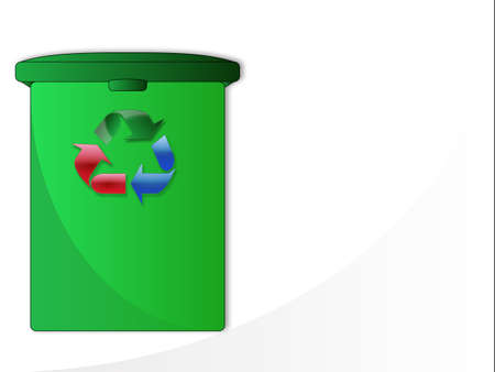 Garbage can with recycling symbol  Illustration
