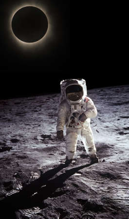moon crater: Astronaut walking on the moon, space and planet in the background N A S A  Image edited