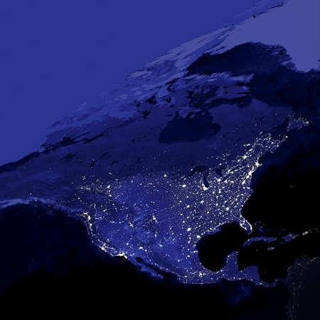 luz: Las áreas más brillantes de la Tierra son las más urbanizadas, pero no necesariamente las más pobladas Foto de archivo