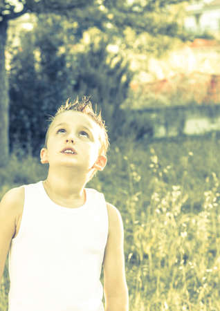 intrigued: Child looks intrigued into the sky under the golden sun of summer  Stock Photo