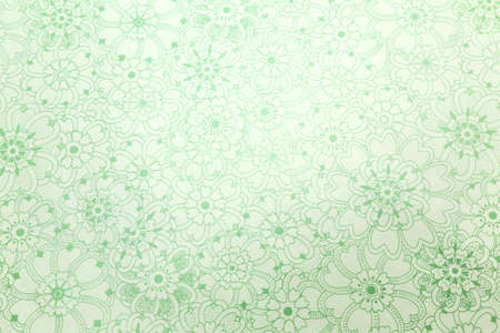 Drawings of green hearts forming flower, green texture background