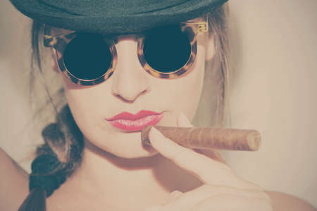 Young attractive woman, vintage look portrait
