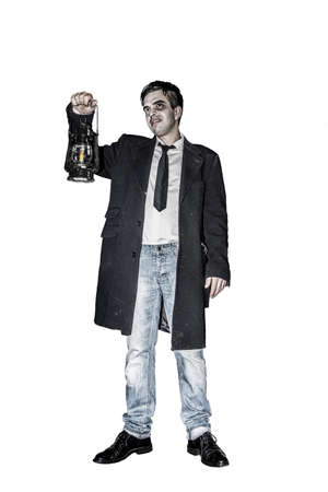 Scary man with oil lamp against white background, Halloween Collection