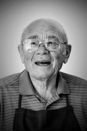 studio b: Portrait of a senior man against white background Stock Photo