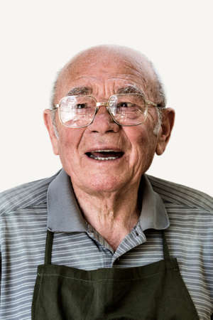 Portrait of a senior man against white background Stock Photo