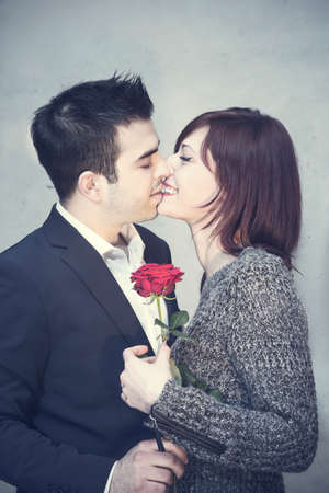 Young couple sharing a tender moment together photo