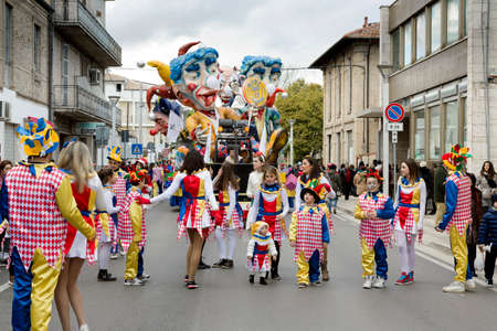 S  Egidio alla Vibrata, Italy - March 2, 2014  Floats and masked people walking the streets of Sant